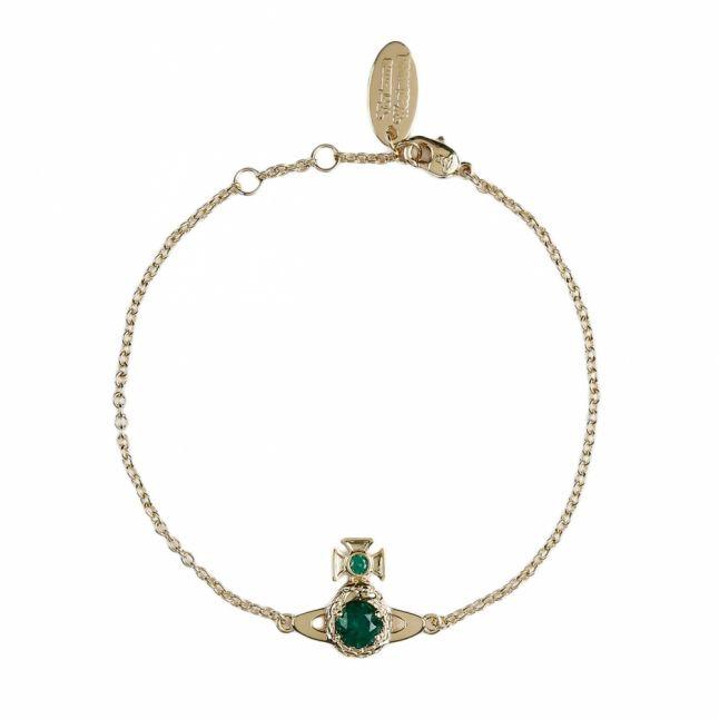 Womens Emerald/Gold Ouroboros Small Bracelet