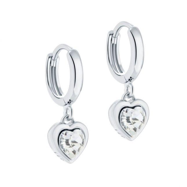 Womens Silver/Crystal Hanniy Crystal Heart Huggie Earrings