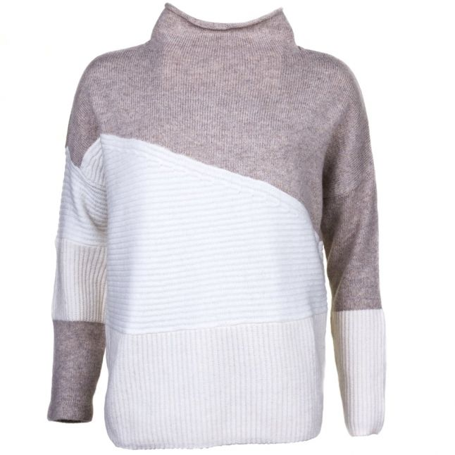 Womens Classic Cream Multi Patchwork Tonal Knitted Jumper