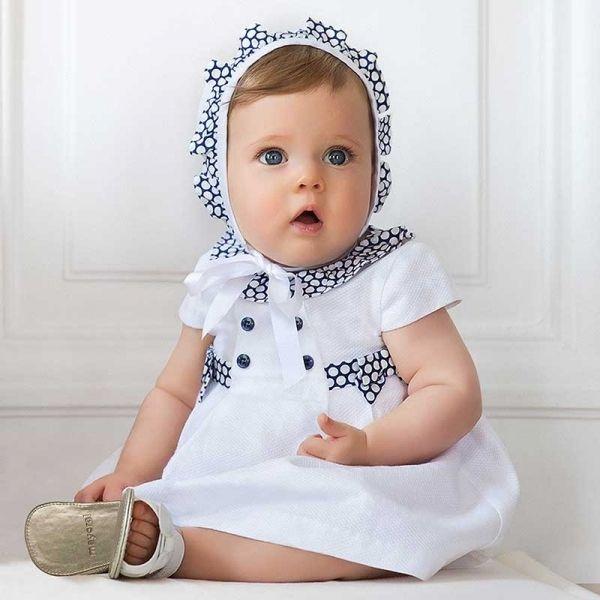 Baby Nautical White Spot Trim Dress & Hat Set