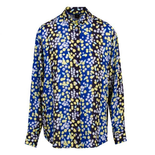 Womens Cobalt Blue Floral L/s Blouse