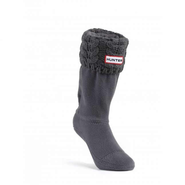 Kids Charcoal Chunky Cable Wellington Socks (XXS-XXL)