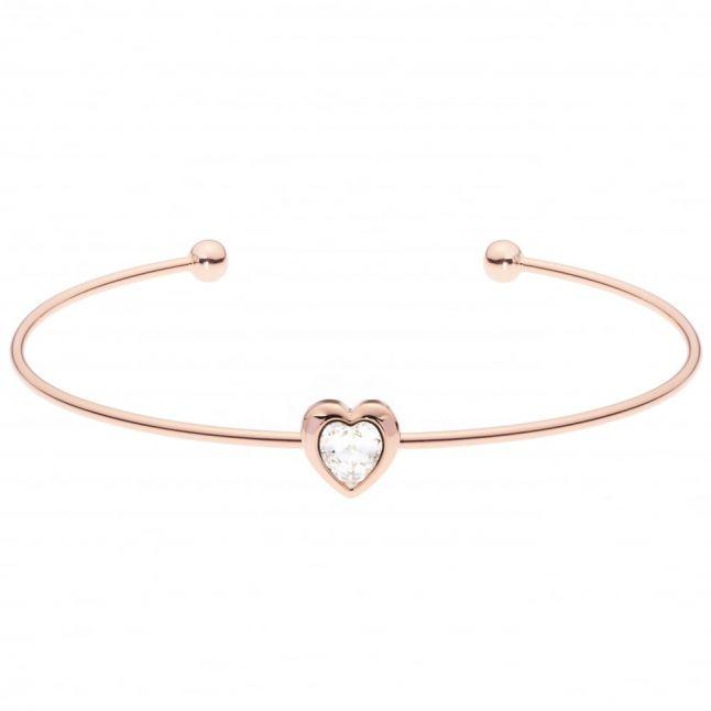 Womens Rose Gold Crystal Heart Ultra Fine Cuff