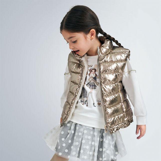 Girls Soft Gold Metallic Reversible Gilet