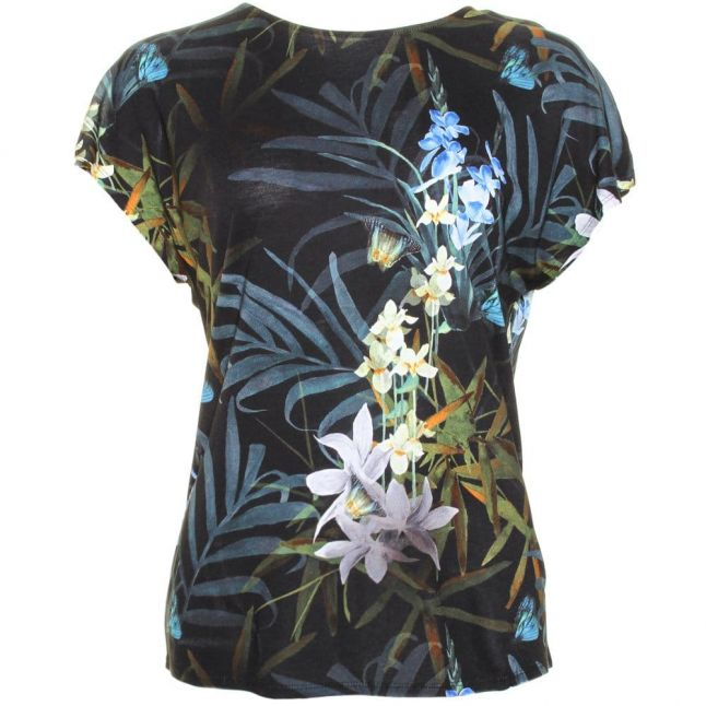 Womens Black Sazia Twilight Floral Printed S/s Tee Shirt