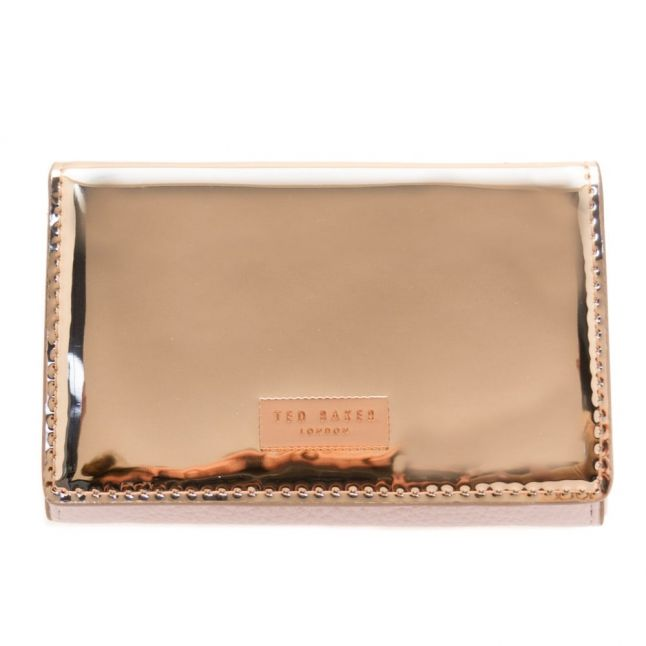 Womens Rose Gold Antonie Metallic Fold Mini Purse