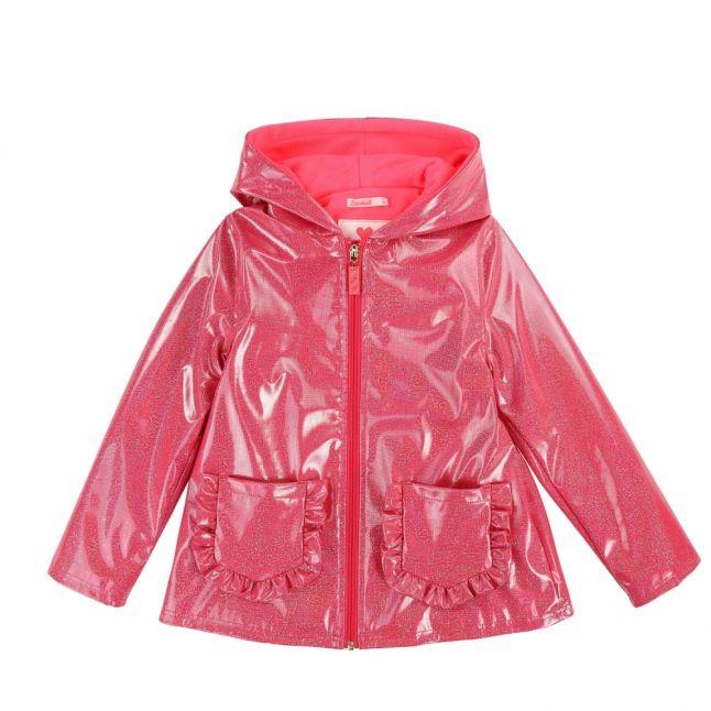 Girls Cranberry Glitter Hooded Raincoat