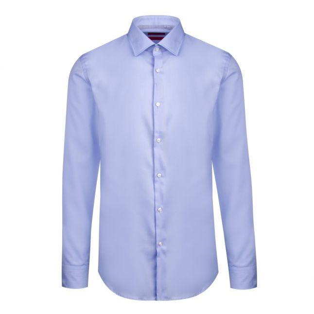 Mens Light Blue Koey Trim Slim Fit L/s Shirt