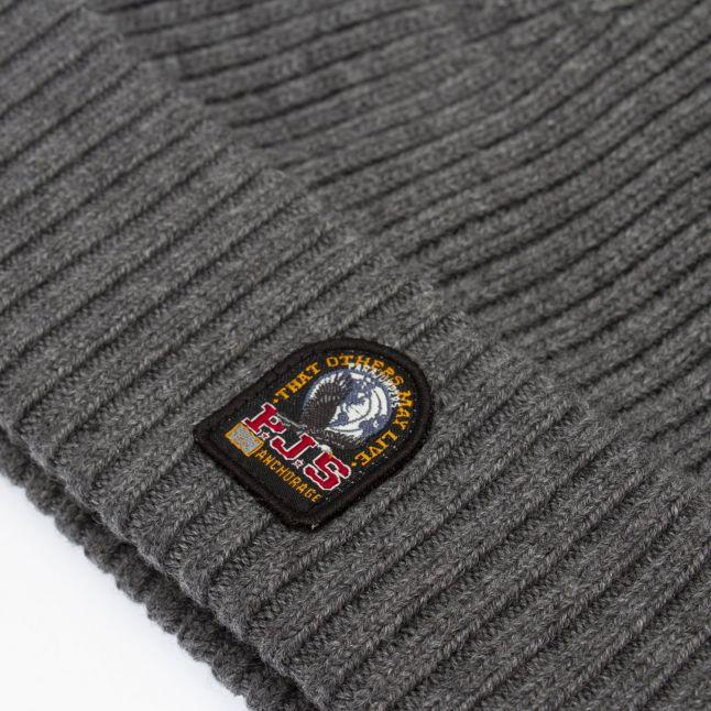 Mens Grey Branded Rib Hat
