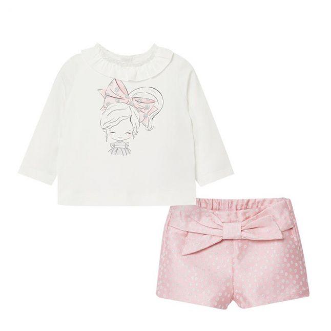 Mayoral Infant Rose Bow Top + Polka Shorts Set