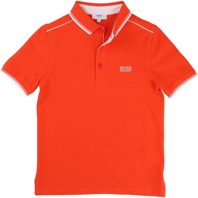 Boys Red Tipped Branded S/s Polo Shirt