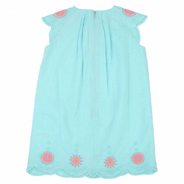 Girls Turquoise Cotton Eyelet Dress