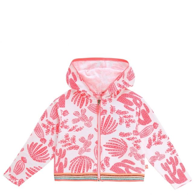 Girls Pink/White Printed Towelling Hooded Sweat Top