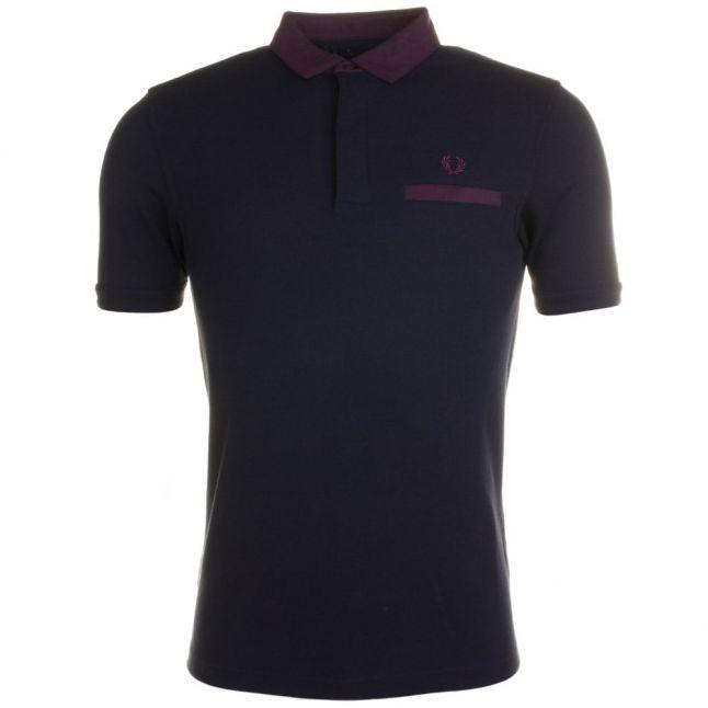 Mens Navy Oxford Trim S/s Polo Shirt