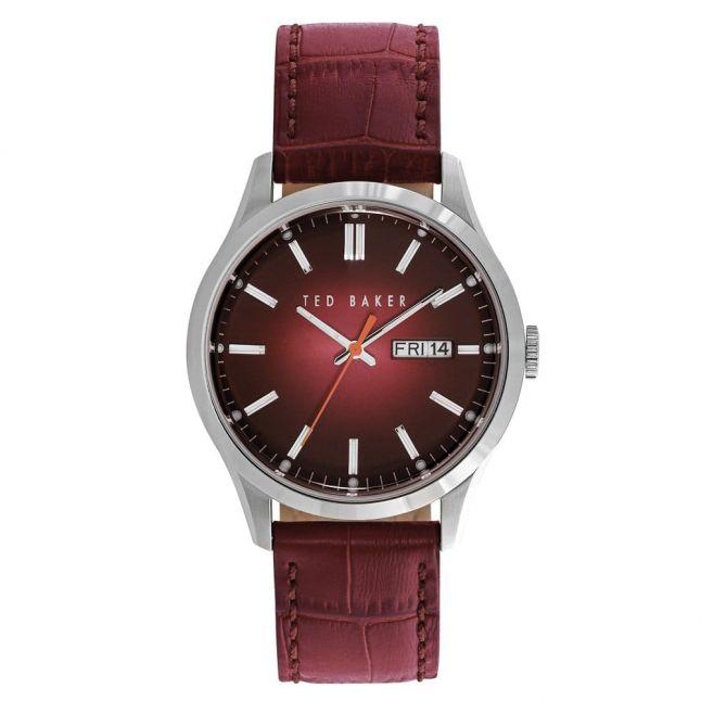 Mens Burgundy Sunray Leather Strap Watch