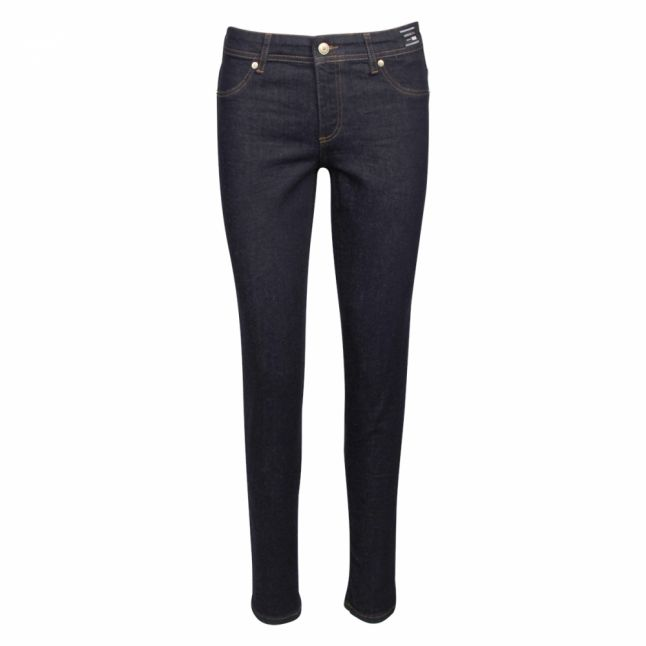 Womens Dark Blue Branded Skinny Fit Jeans