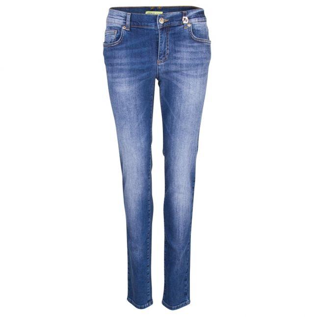 Versace Womens Indigo R.Swallow Lurex Skinny Jeans