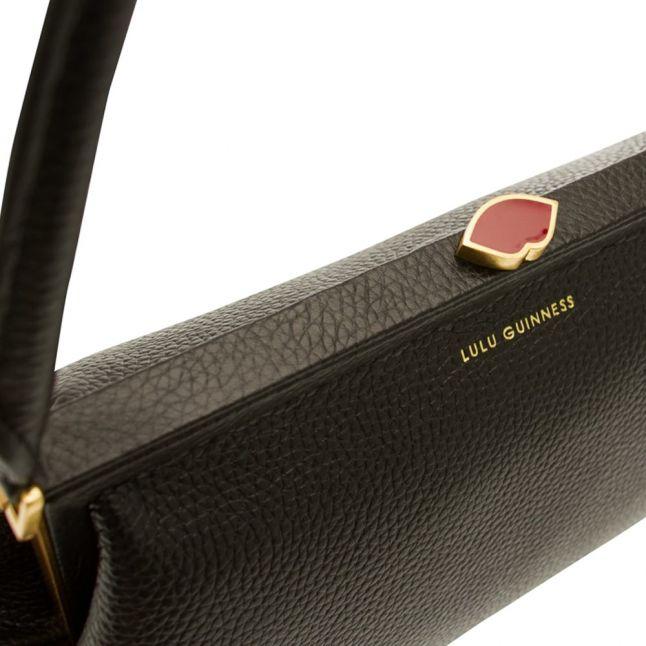 Womens Black Grainy Leather Tabitha Shoulder Bag