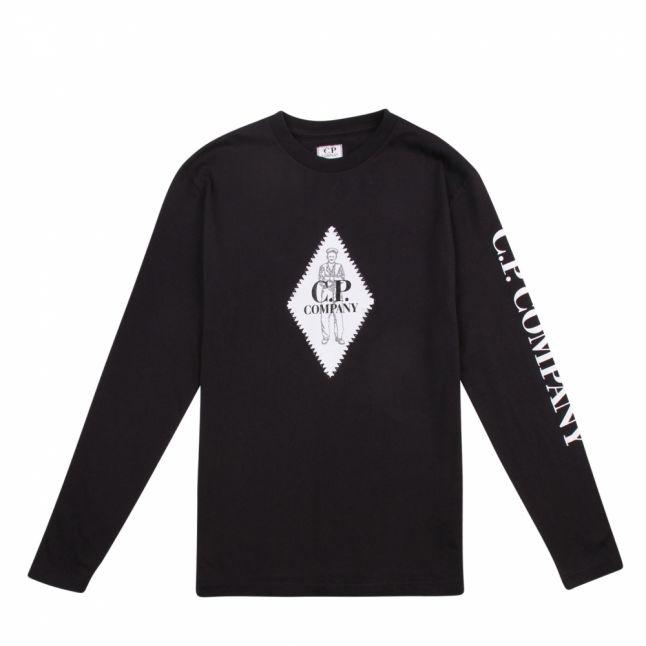 Boys Black Sailor Patch L/s T Shirt