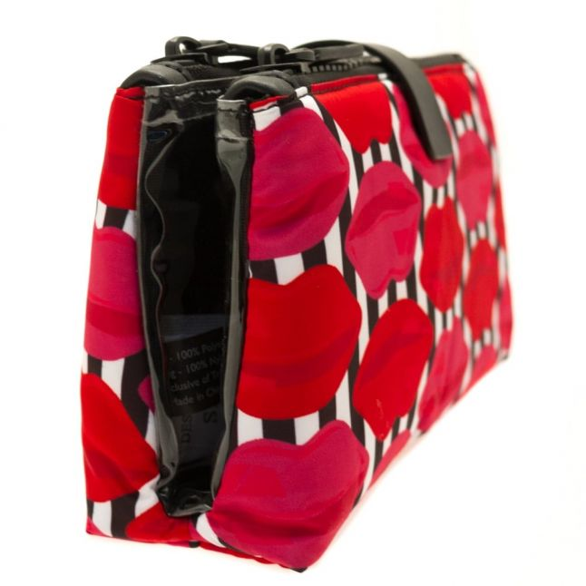 Womens Red & Pink Lip Stripe Double Make Up Bag