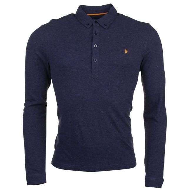 Mens True Navy Marl Merriweather L/s Polo Shirt