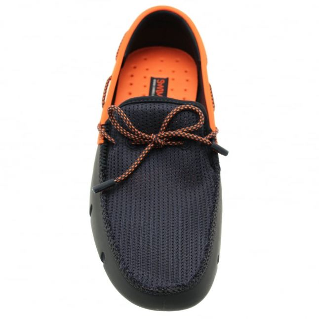 Mens Navy & Orange Lace Loafers