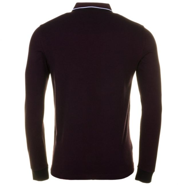 Mens Mahogany Oxford Twin Tipped L/s Polo Shirt