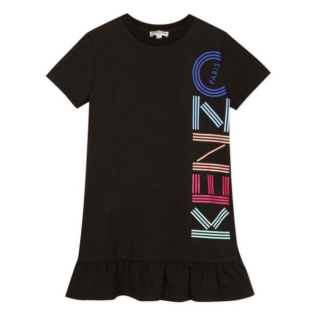 Girls Black Multicolour Logo Dress