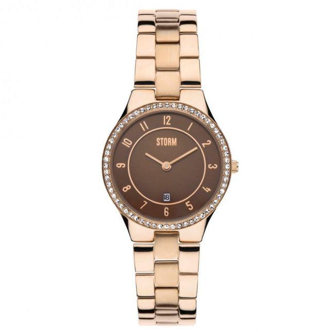 Womens Rose Gold Slim-X Crystal Watch