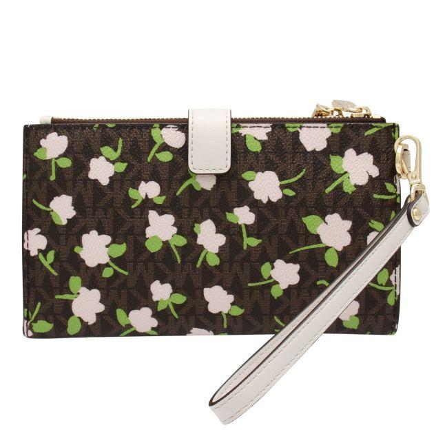 Womens Brown Mini Rose Double Zip Wristlet