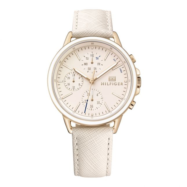 Womens Rose Gold/Blue Leather Watch