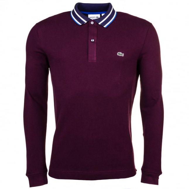 Mens Burgundy Striped Collar L/s Polo Shirt