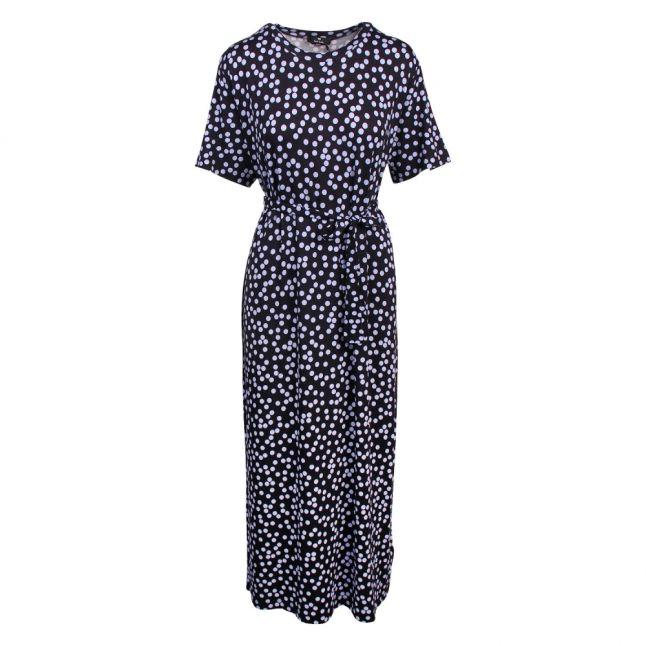 Womens Dark Navy Polka Dot Belted Midi Dress