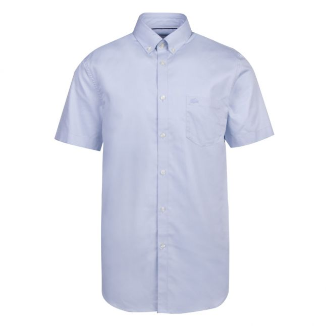 Mens Blue/Lagoon Stretch Poplin Regular Fit S/s Shirt