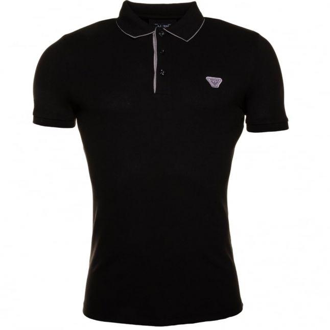 Mens Black Slim Fit S/s Polo Shirt