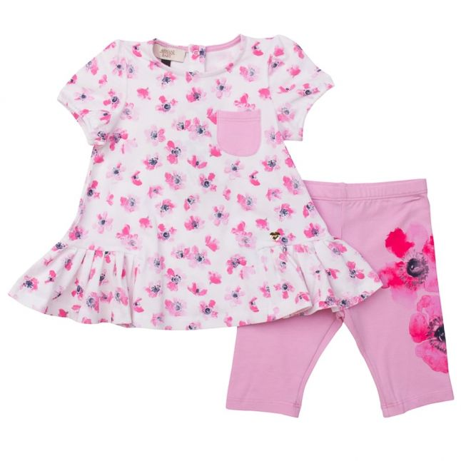 Baby White & Pink Top & Leggings Set