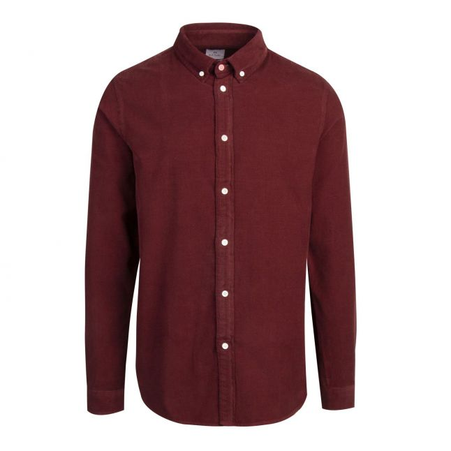 Mens Dark Red Mini Cord Tailored Fit L/s Shirt