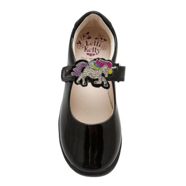 Girls Black Patent Blossom 2 Loop Unicorn F Fit Shoes (25-35)