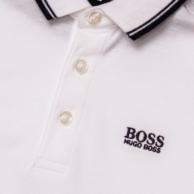 Boys White Basic Branded S/s Polo Shirt