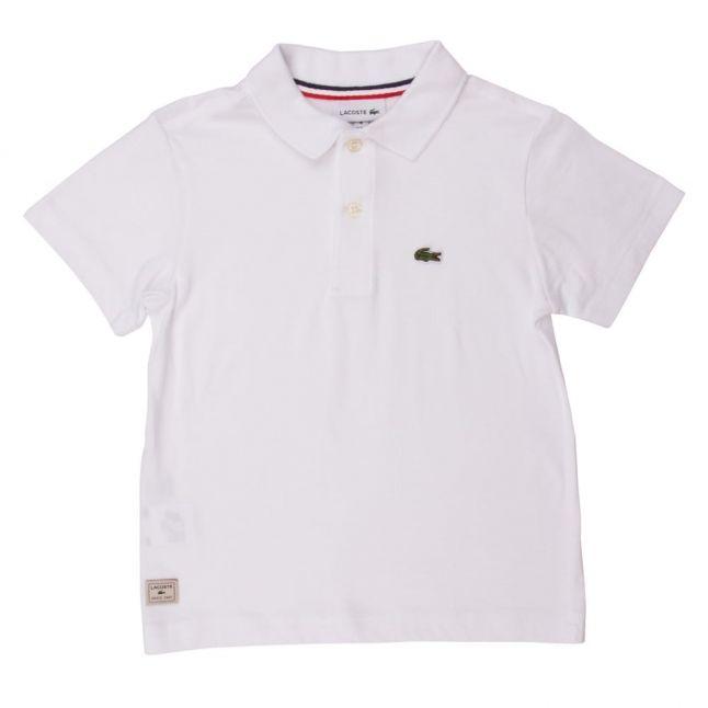 Boys White Branded Sport S/s Polo Shirt