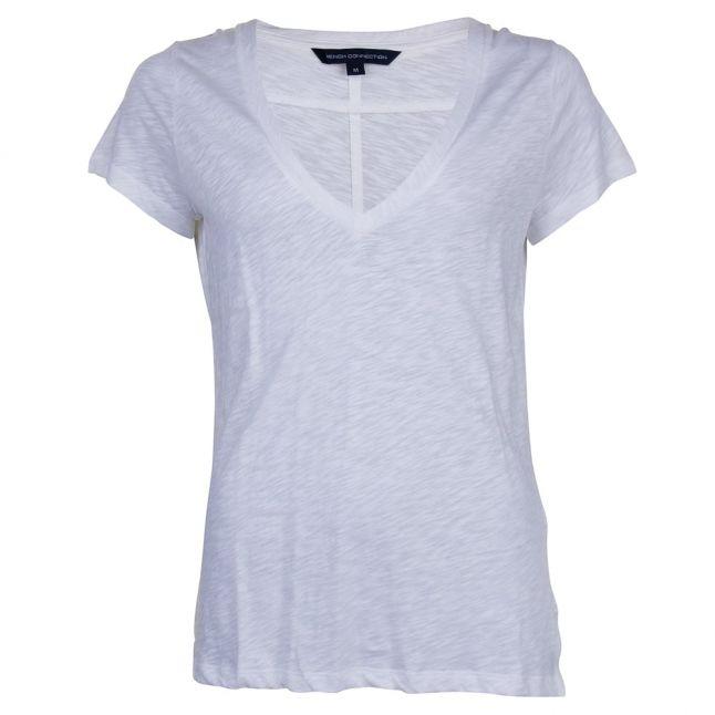 Womens Summer White Fresh Slub Jersey Top