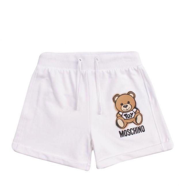 Girls White Toy Sweat Shorts