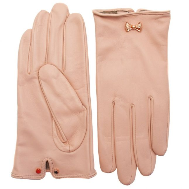 Womens Pale Pink Avia Bow Leather Gloves