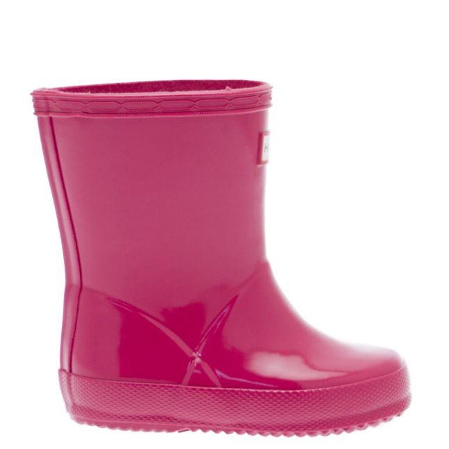 Kids Bright Pink First Gloss Wellington Boots (4-8)