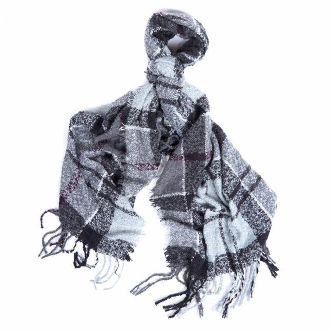 Womens Grey/Juniper Tartan Boucle Scarf
