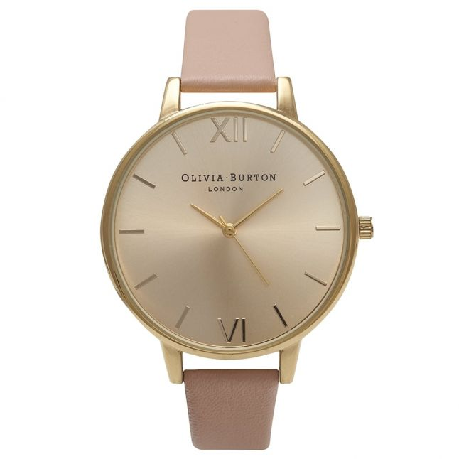 Womens Dusty Pink & Gold Big Dial Watch