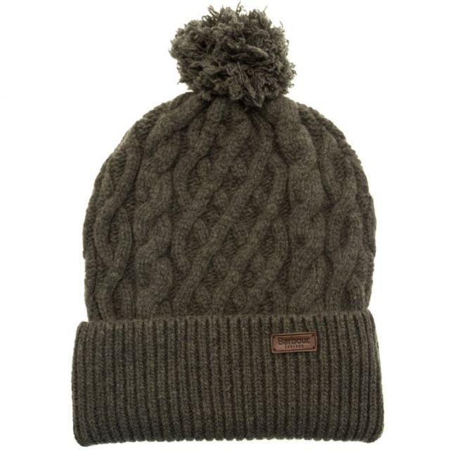 Lifestyle Mens Olive Cable Knit Beanie Hat