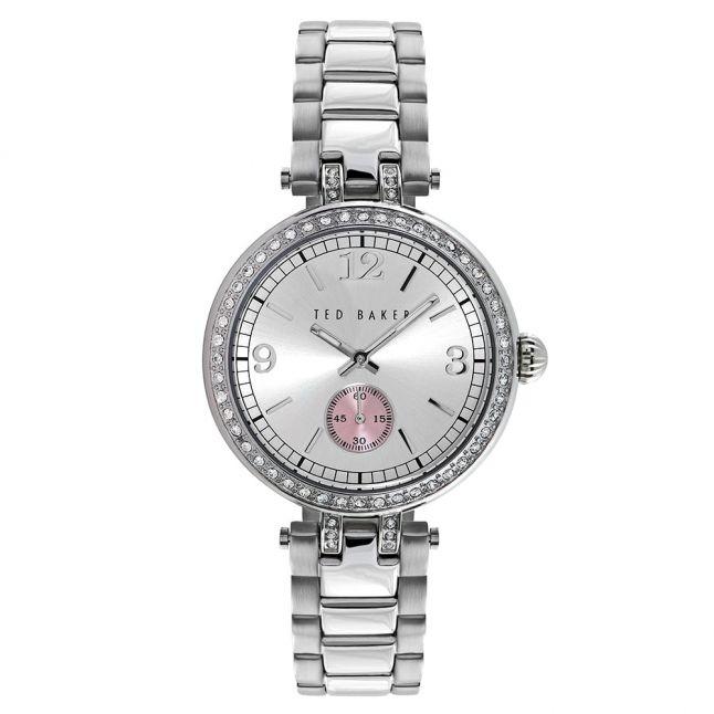 Womens Silver Stoned Bezel Stainless Steel Bracelet Watch