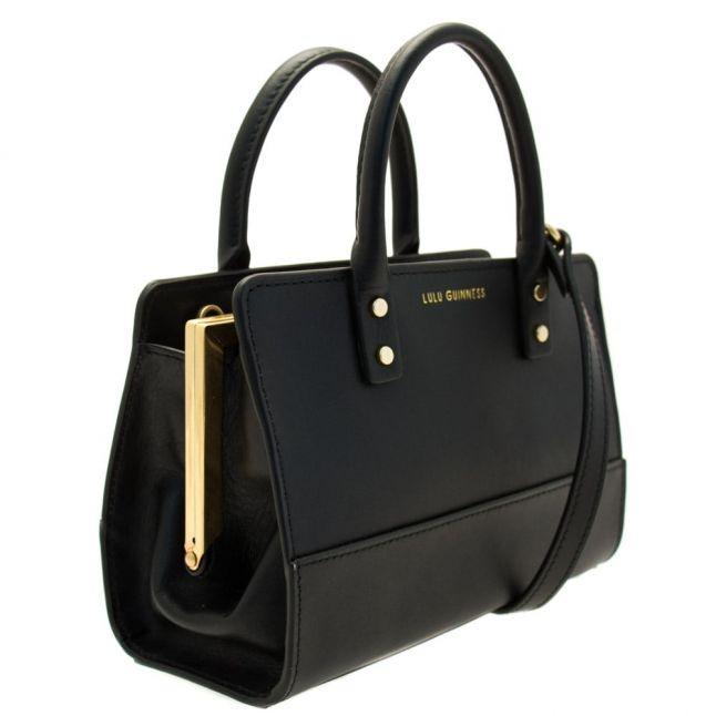 Womens Black Polished Leather Mini Daphne Bag
