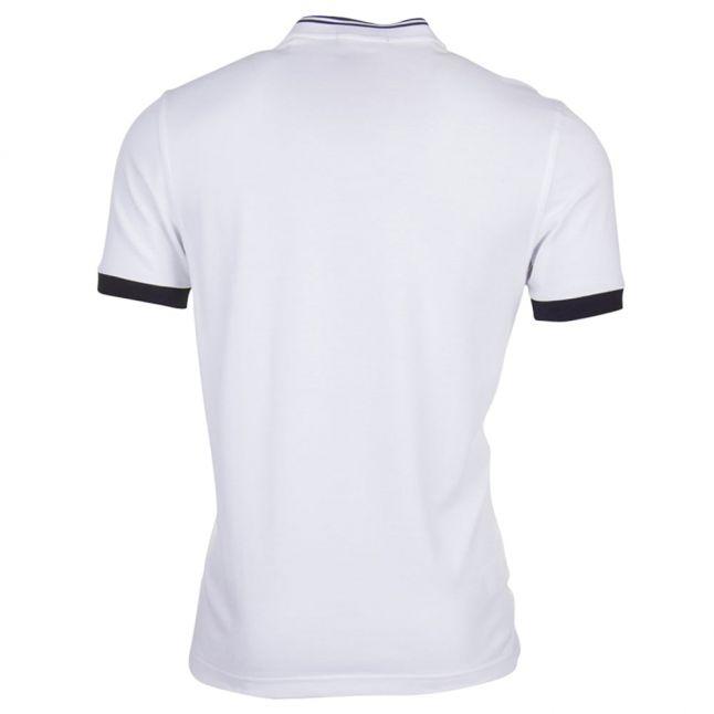 Mens White Bomber Collar Pique S/s Polo Shirt